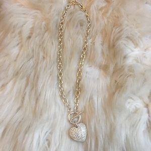 Silver heart Necklace chain sparkly heart glam